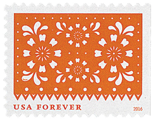 2016 First-Class Forever Stamp - Colorful Celebrations: Orange with White Flowers