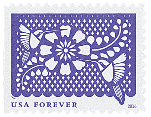 2016 First-Class Forever Stamp - Colorful Celebrations: Violet with Two Birds and a White Flower