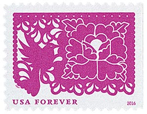 2016 First-Class Forever Stamp - Colorful Celebrations: Pink Bird and a Flower