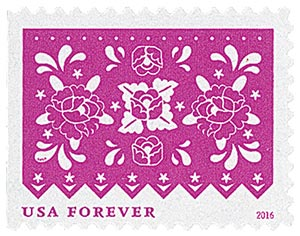 2016 First-Class Forever Stamp - Colorful Celebrations: Pink with Flowers