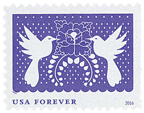 2016 First-Class Forever Stamp - Colorful Celebrations: Violet with Two White Birds and a Flower
