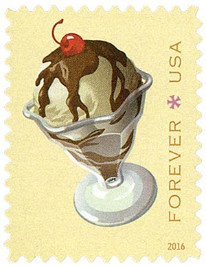 2016 First-Class Forever Stamp - Soda Fountain Favorites: Hot Fudge Sundae