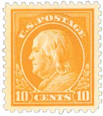 1917 10c Franklin, orange yellow