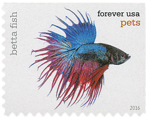 2016 First-Class Forever Stamp - Pets: Betta Fish