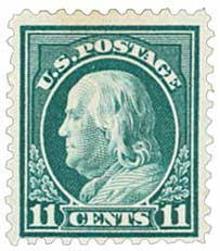 1917 11c Franklin, light green
