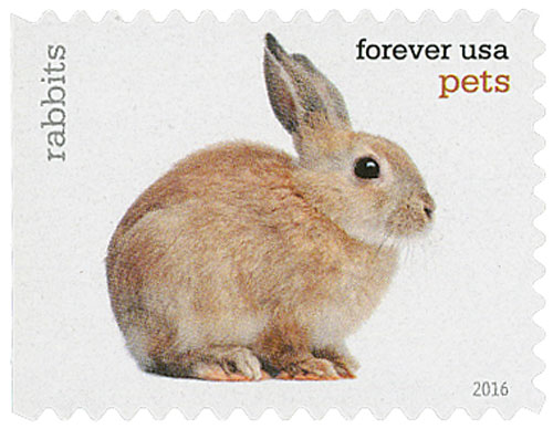 2016 First-Class Forever Stamp - Pets: Rabbits