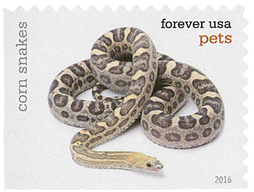 2016 First-Class Forever Stamp - Pets: Corn Snakes