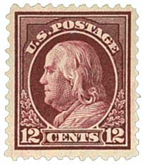 1917 12c Franklin, claret brown, perf 11