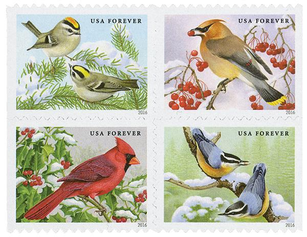 2016 First-Class Forever Stamp - Songbirds in Snow