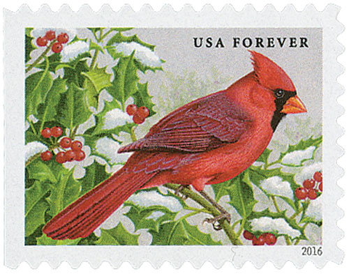 2016 First-Class Forever Stamp - Songbirds in Snow: Northern Cardinal