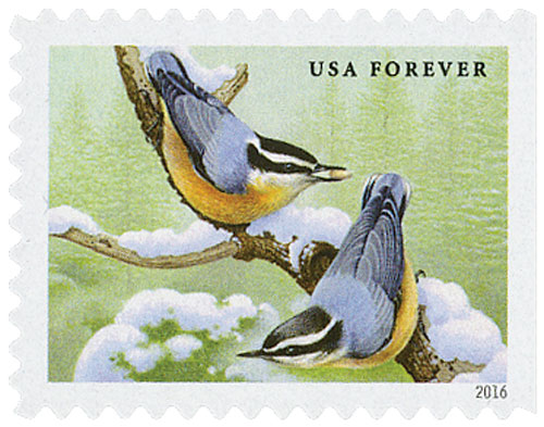 2016 First-Class Forever Stamp - Songbirds in Snow: Red-Breasted Nuthatches
