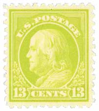 1919 13c Franklin, apple green