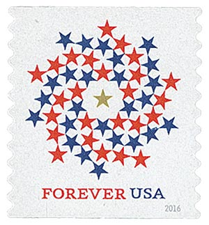 2016 First-Class Forever Stamp - Patriotic Spiral (Ashton Potter, coil)