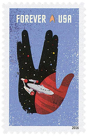 2016 First-Class Forever Stamp - Star Trek: Starship Enterprise and Vulcan Salute