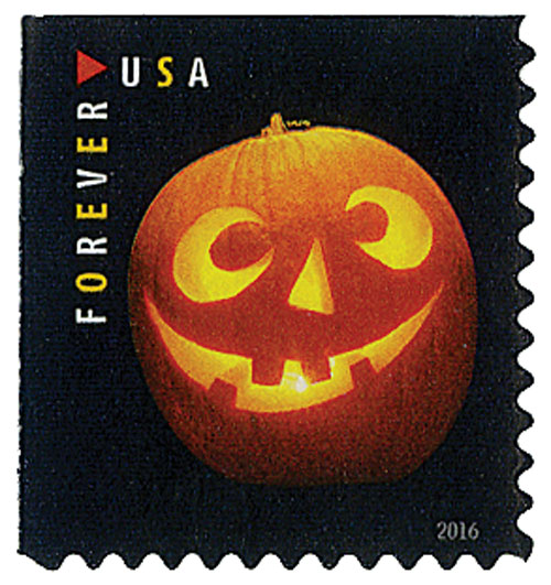 2016 First-Class Forever Stamp - Jack-O'-Lanterns: Round Eyes and Four Teeth