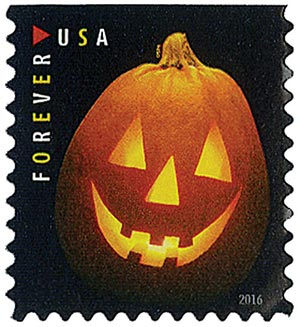 2016 First-Class Forever Stamp - Jack-O'-Lanterns: Triangle Eyes and Five Teeth