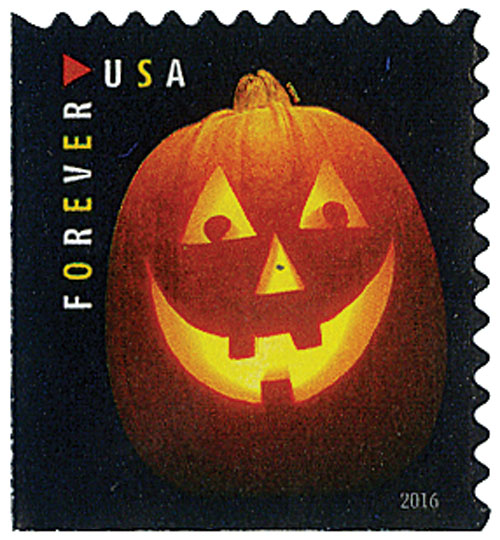 2016 First-Class Forever Stamp - Jack-O'-Lanterns: Triangle Eyes and Three Teeth