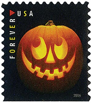 2016 First-Class Forever Stamp - Jack-O'-Lanterns: Round Eyes and Nine Teeth