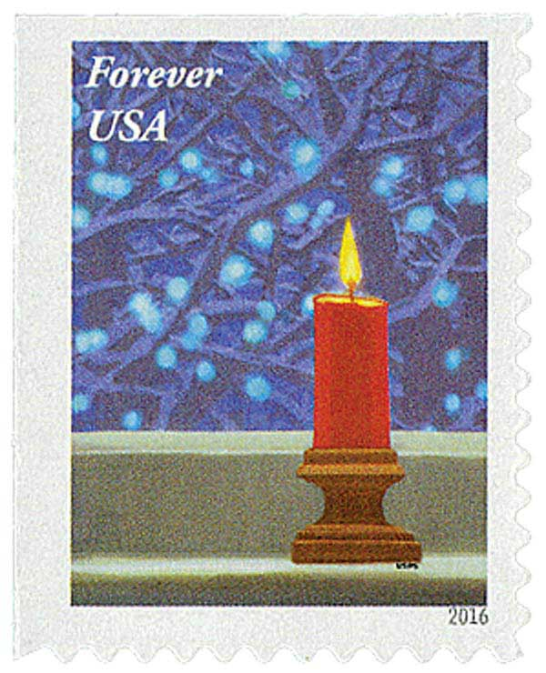 2016 First-Class Forever Stamp - Contemporary Christmas: Red Candle on Window Sill