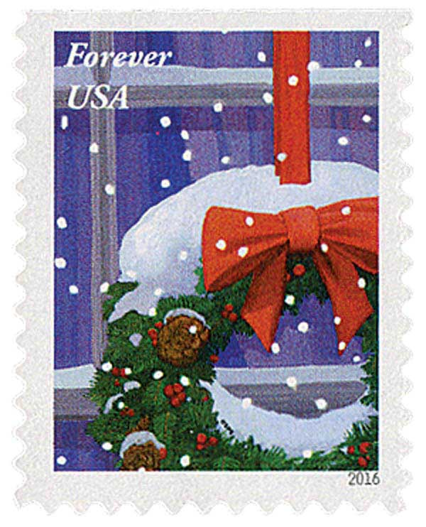 2016 First-Class Forever Stamp - Contemporary Christmas: Wreath Hanging on Window