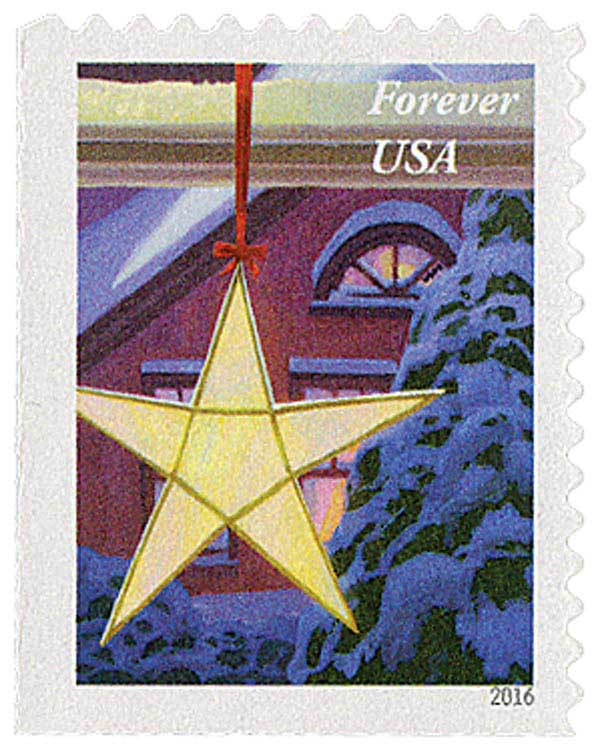 2016 First-Class Forever Stamp - Contemporary Christmas: Gold Star Hanging in Window