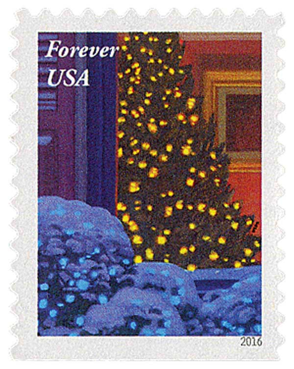 2016 First-Class Forever Stamp - Contemporary Christmas: Christmas Tree Through a Window