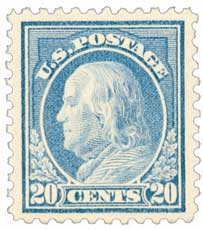 1917 20c Franklin, ultramarine, perf 11