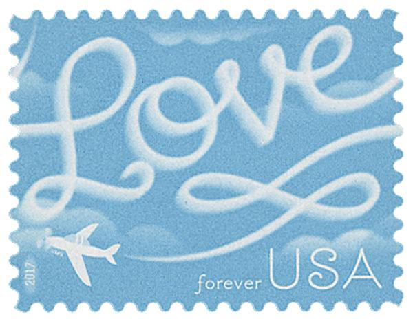 2017 First-Class Forever Stamp - Love Series: Airplane Skywriting 'Love'