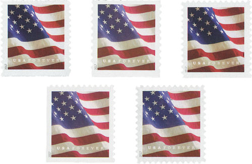2017 U.S. Flags, set of 5 stamps