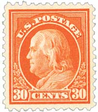 1917 30c Franklin, orange red