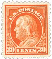1917 30c Franklin, orange red
