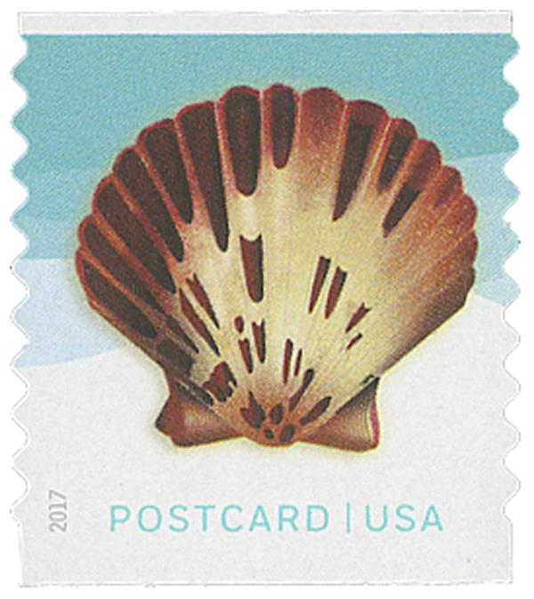 2017 34c Seashells: Pacific Calico Scallop, coil