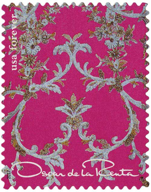 2017 First-Class Forever Stamp - Oscar de la Renta: Bright Pink Fabric with Gray Floral Design