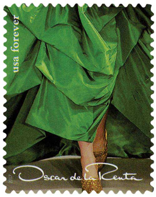 2017 First-Class Forever Stamp - Oscar de la Renta: Green Dress with Gold Shoes