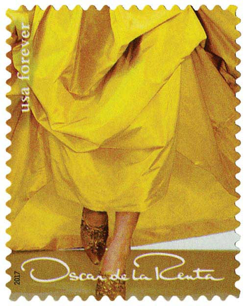 2017 First-Class Forever Stamp - Oscar de la Renta: Yellow Dress with Gold Shoes