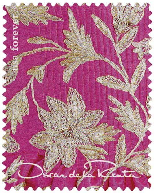 2017 First-Class Forever Stamp - Oscar de la Renta: Pink Fabric with Gold Floral Pattern
