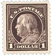 1917 $1 Franklin, violet brown
