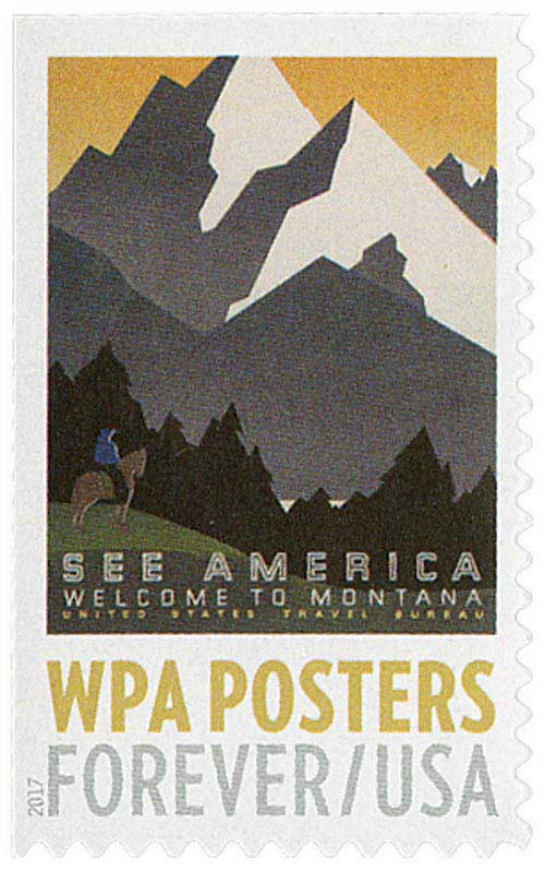 2017 First-Class Forever Stamp - WPA Posters: See America, Welcome to Montana