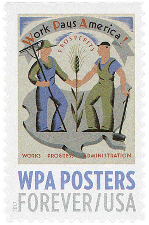 2017 First-Class Forever Stamp - WPA Posters: Work Pays America!