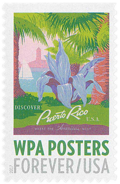 2017 First-Class Forever Stamp - WPA Posters: Discover Puerto Rico, U.S.A.