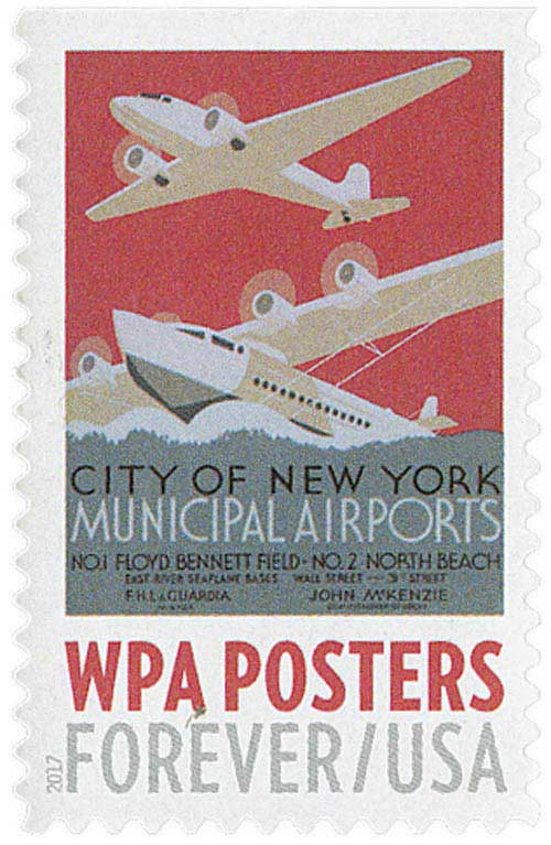 2017 First-Class Forever Stamp - WPA Posters: City of New York Municipal Airports