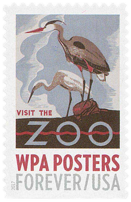 2017 First-Class Forever Stamp - WPA Posters: Visit the Zoo