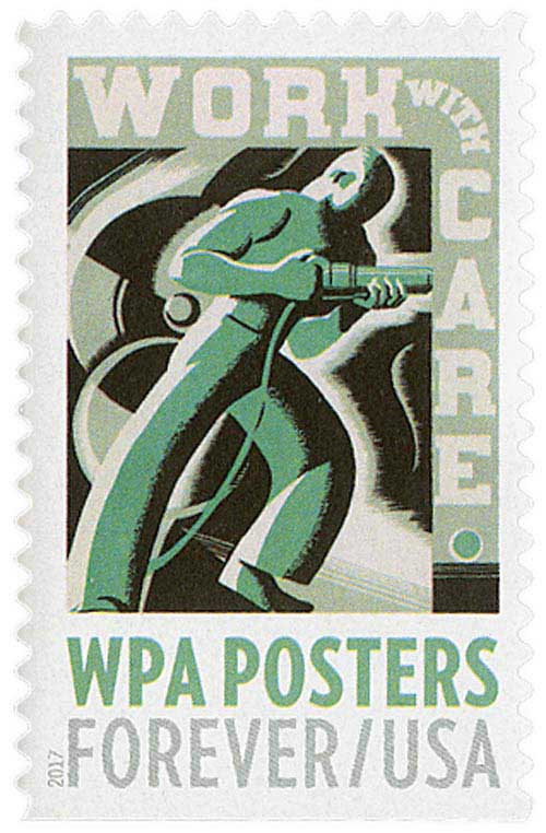 2017 First-Class Forever Stamp - WPA Posters: Work with Care