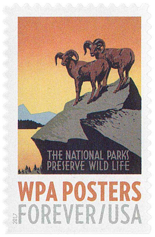 2017 First-Class Forever Stamp - WPA Posters: The National Parks Preserve Wild life