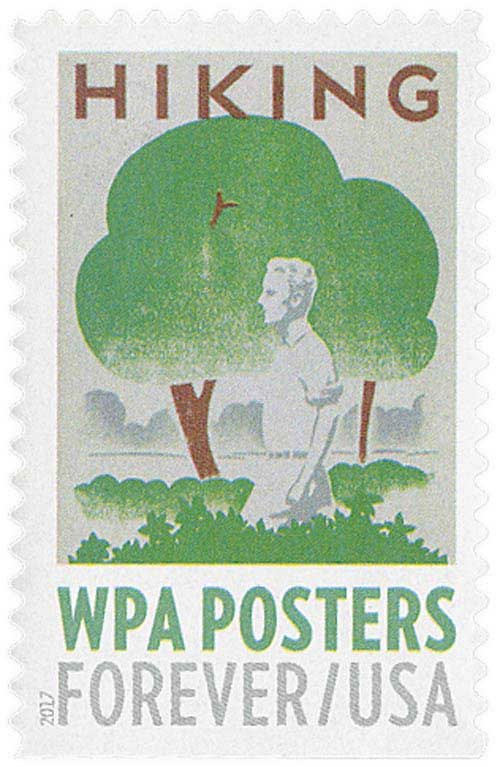 2017 First-Class Forever Stamp - WPA Posters: Hiking