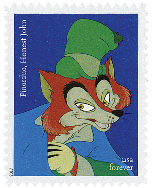 "2017 First-Class Forever Stamp - Disney Villians: Honest John from ""Pinocchio"""