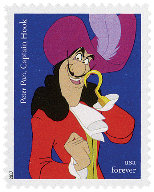 "2017 First-Class Forever Stamp - Disney Villains: Captain Hook from ""Peter Pan"""