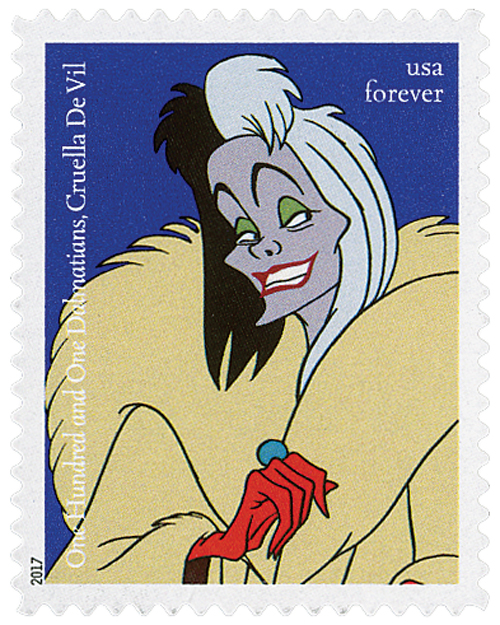 "2017 First-Class Forever Stamp - Disney Villains: Cruella De Vil from ""One Hundred and One Dalmatians"""