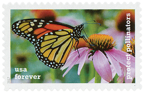 2017 First-Class Forever Stamp - Protect Pollinators: Monarch Butterfly on a Pink Coneflower