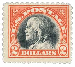 1918 $2 Franklin, orange red and black